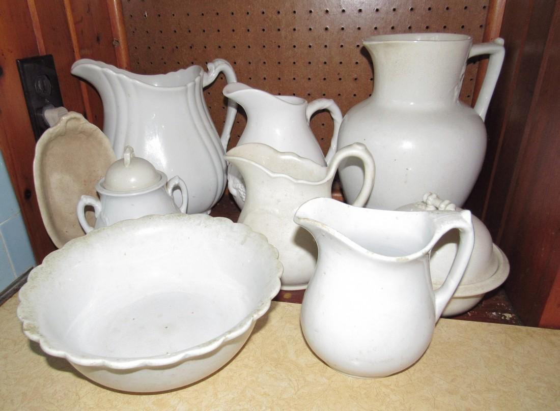 Ironstone Pitchers Bowl Sugar Small Platter