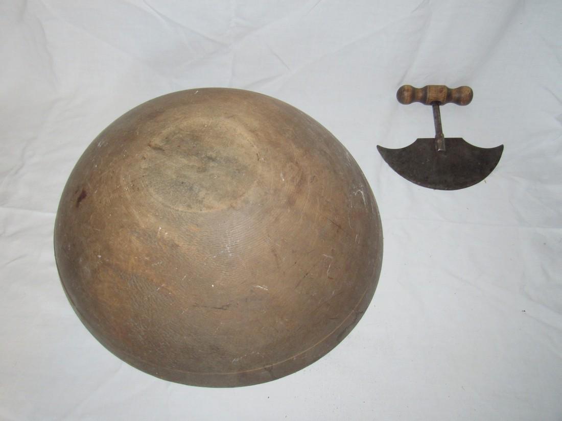 """17 1/2"""" Wooden Bowl & Chopper - 4"""