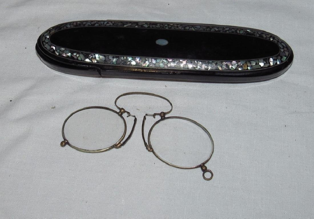 Antique Eyeglasses and Mother of Pearl Case