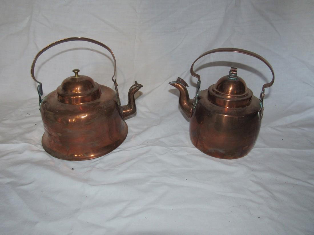 2 Copper Teapots