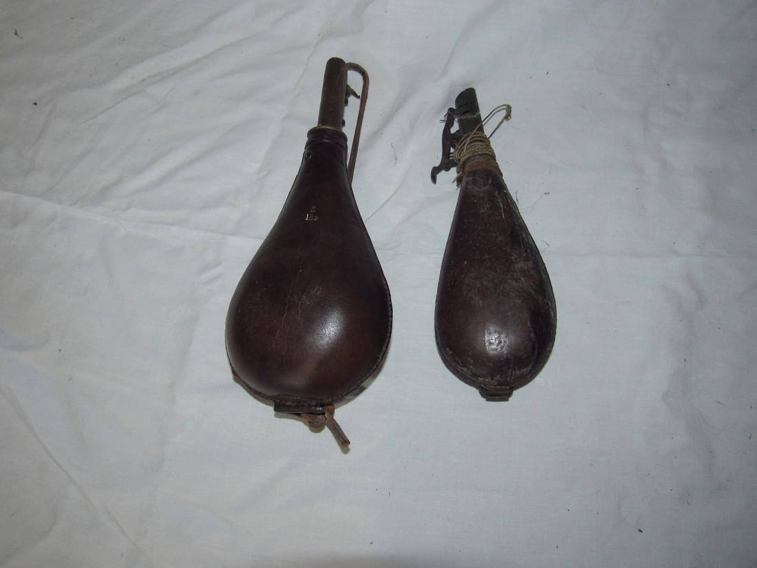 2 Leather Powder Flasks