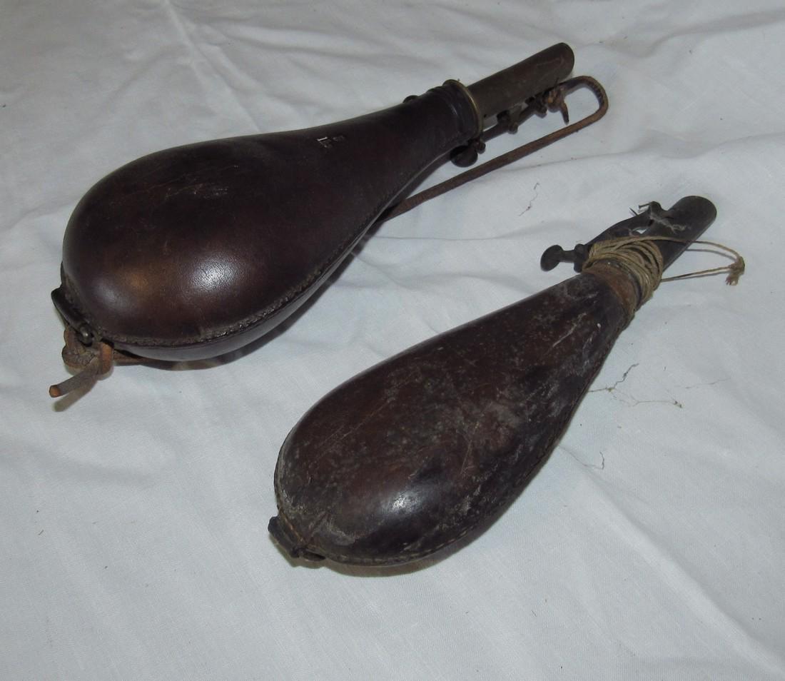 2 Leather Powder Flasks - 2