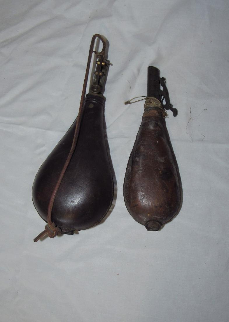 2 Leather Powder Flasks - 3