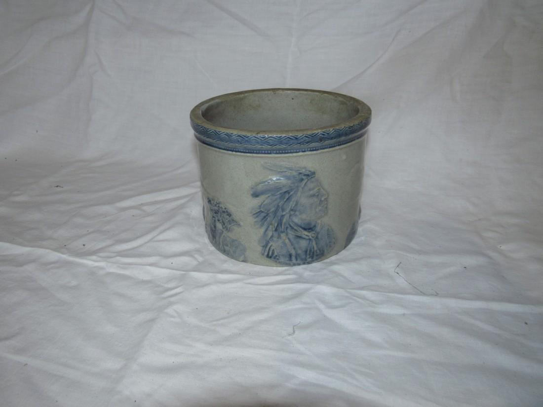 Stoneware Indian Scene Crock