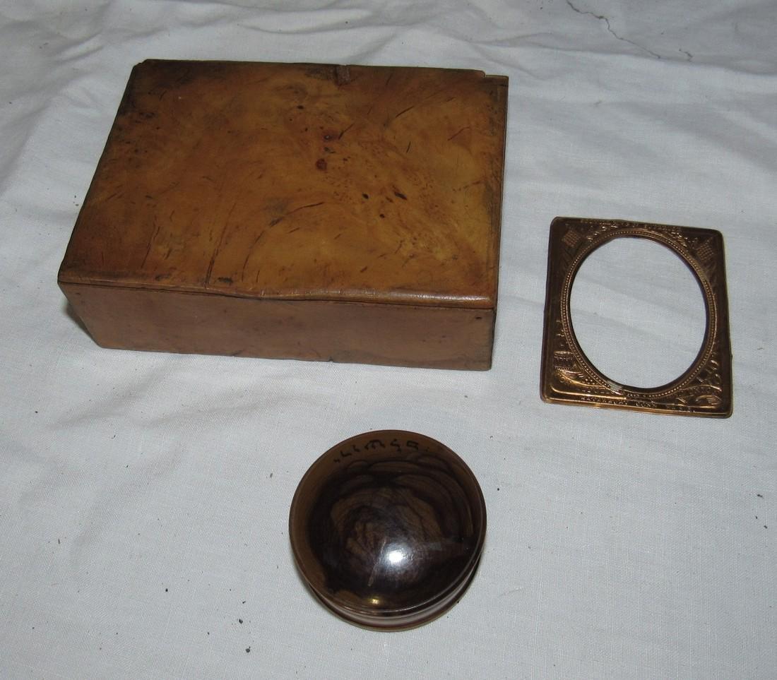 Burl Wood Box Compact & Daguerreotype Frame