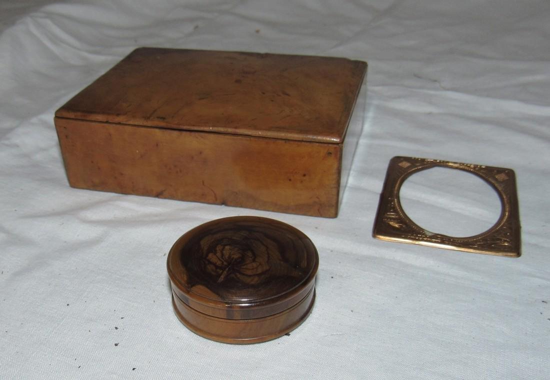Burl Wood Box Compact & Daguerreotype Frame - 2