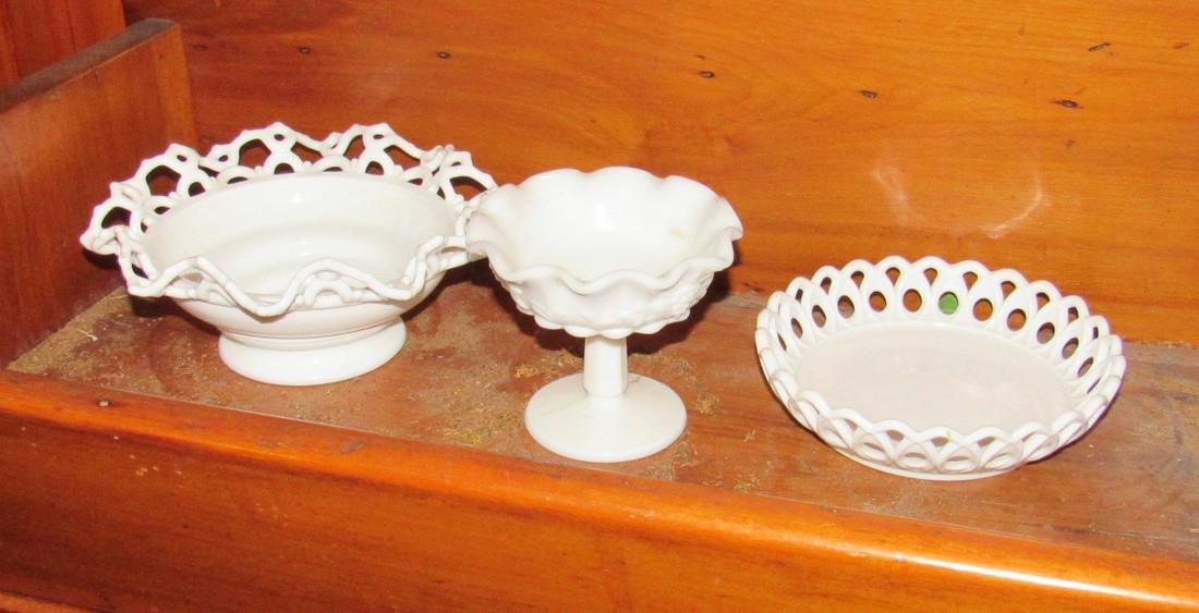 3 Pieces of Milk Glass