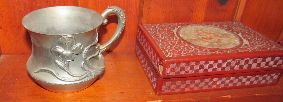 Carved Jewelry Boxes Silverplate Cup & Brass Bell - 2