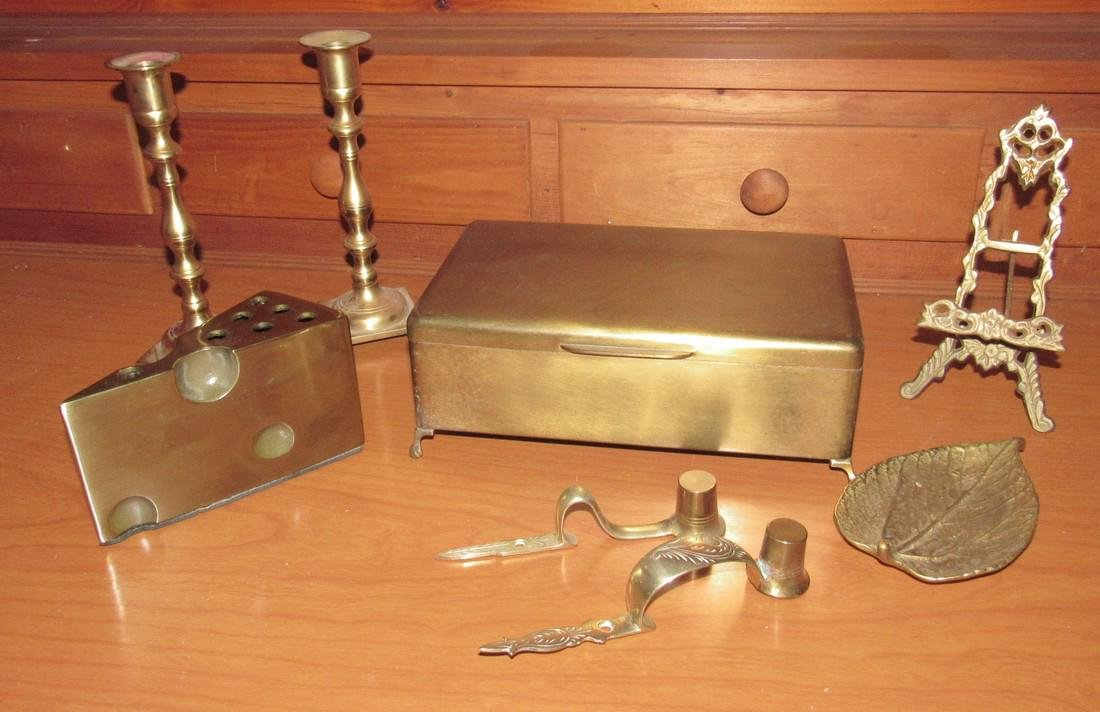Brass Box Candle Sticks Pencil Holder Small Easel &