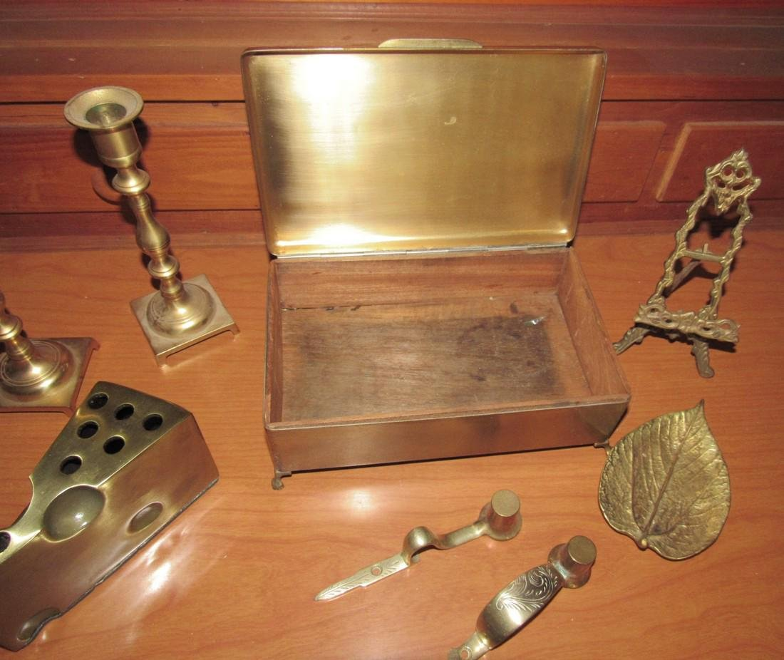 Brass Box Candle Sticks Pencil Holder Small Easel & - 4