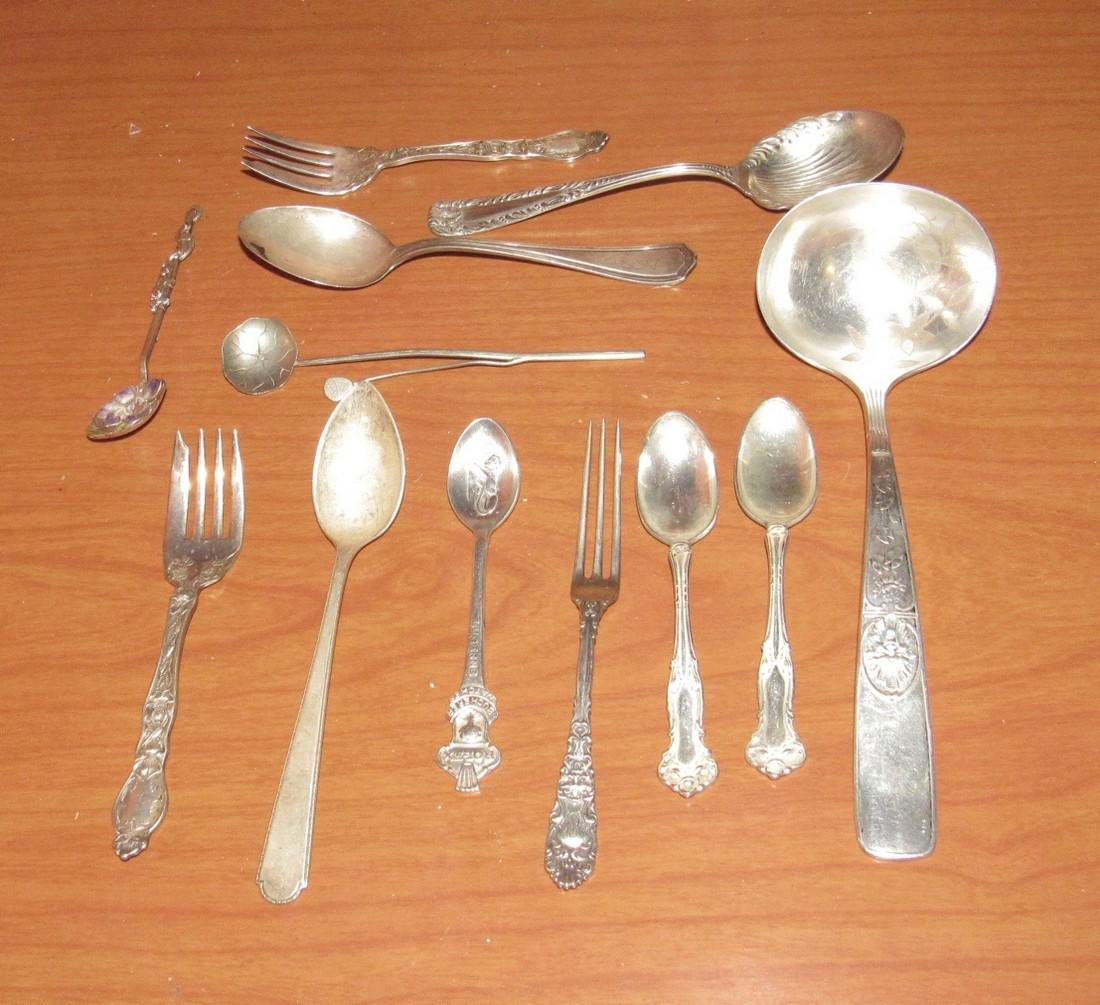 Mixed Sterling Silver Spoons Cocktail Forks Flatware