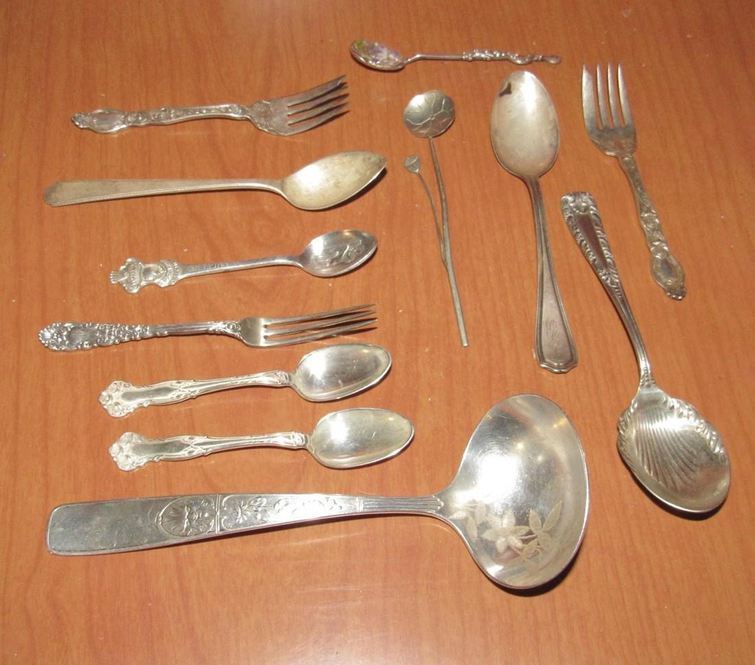 Mixed Sterling Silver Spoons Cocktail Forks Flatware - 2