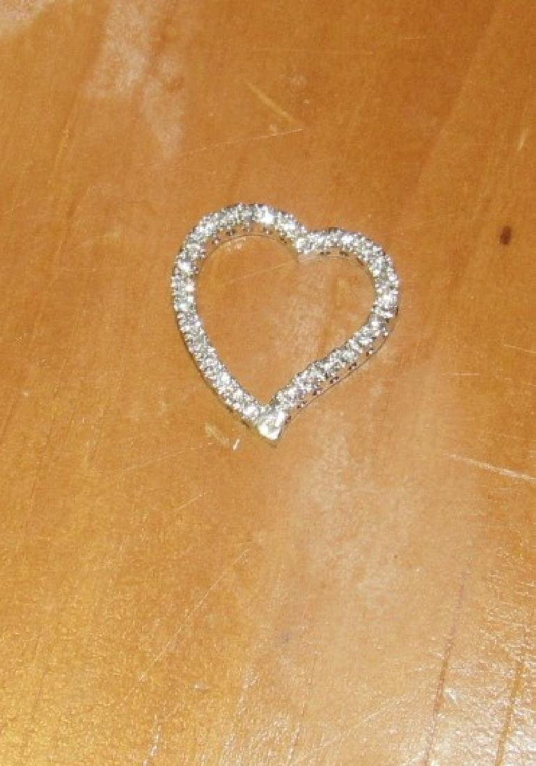 Sterling Heart With Diamond Chips