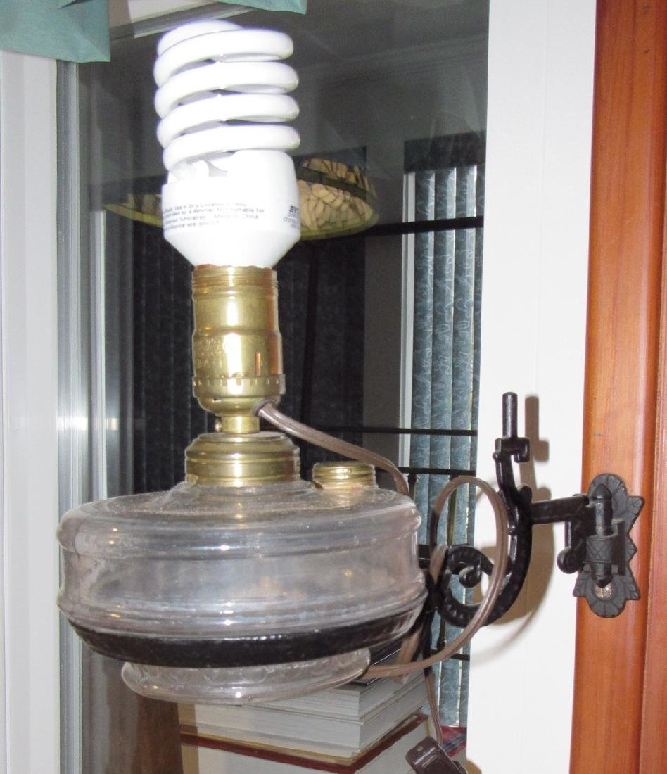 2 Electrified Oil Lamps & Wall Brackets - 3