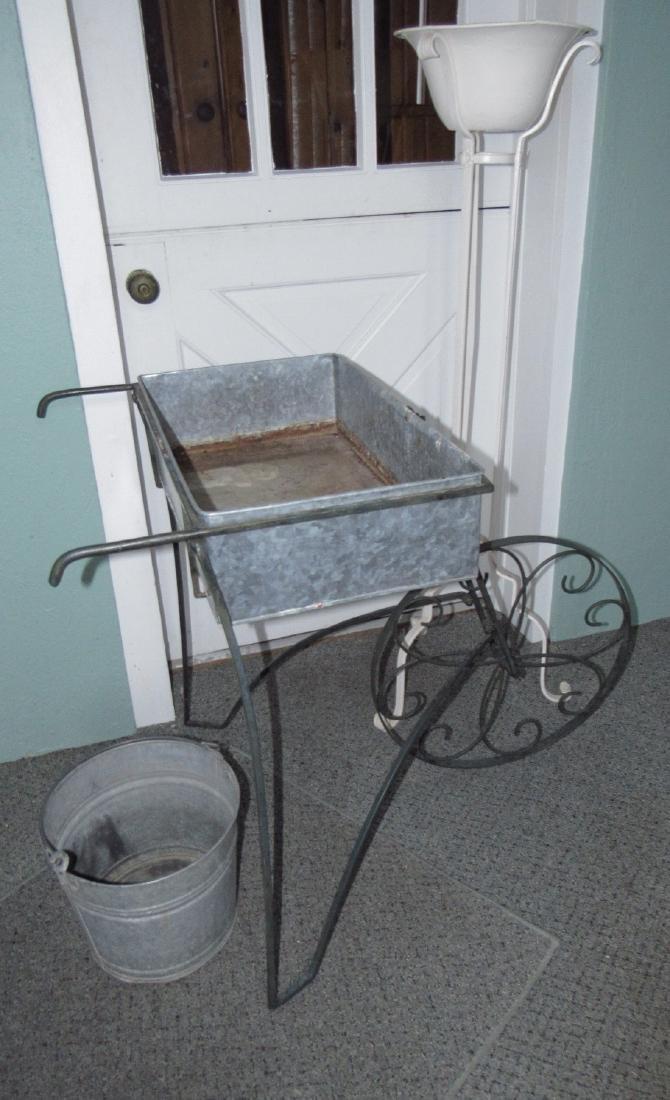 Flower Cart Galvanized Bucket & Planter