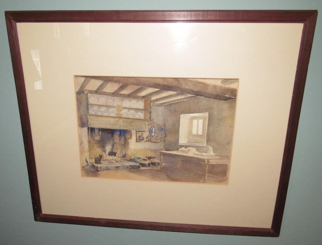 Fireplace Cat Farm Table Watercolor
