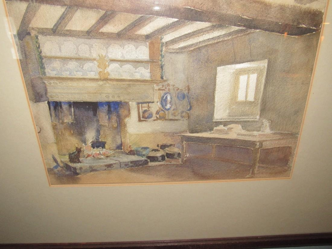 Fireplace Cat Farm Table Watercolor - 2