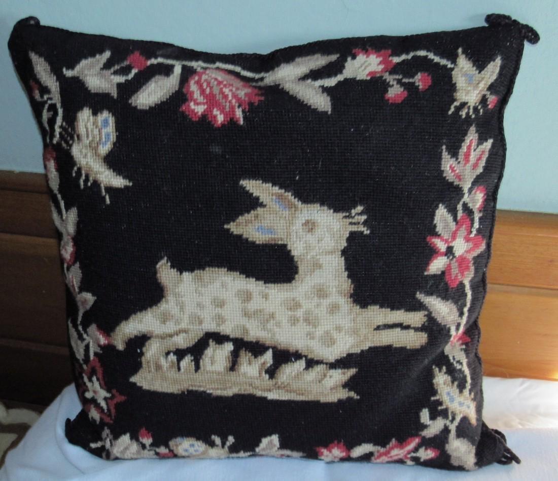 Rabbit & Butterfly Needle Point Pillow