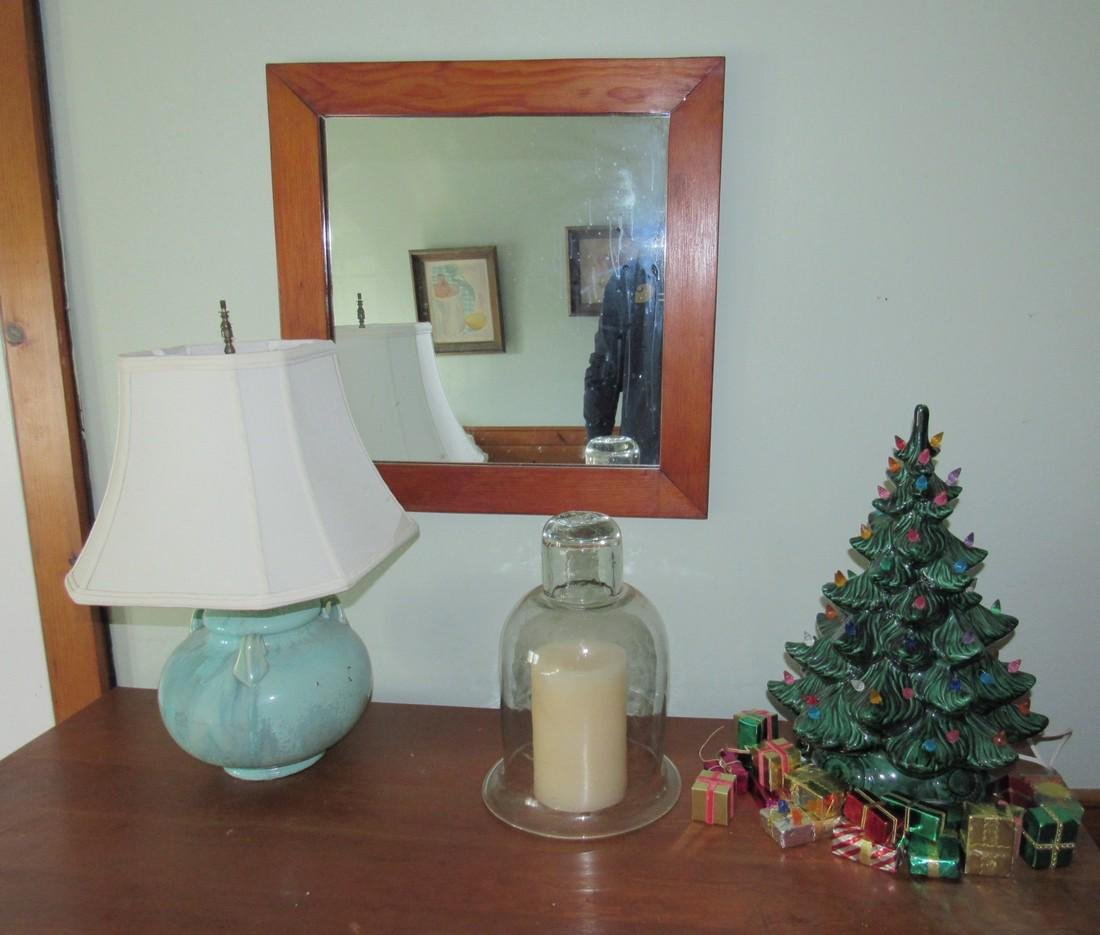 Ceramic Christmas Tree Blown Glass Dome Mirror Lamp