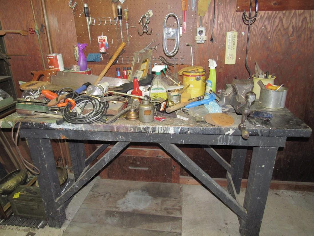 Workbench & Contents Tools Saws Oil Cans