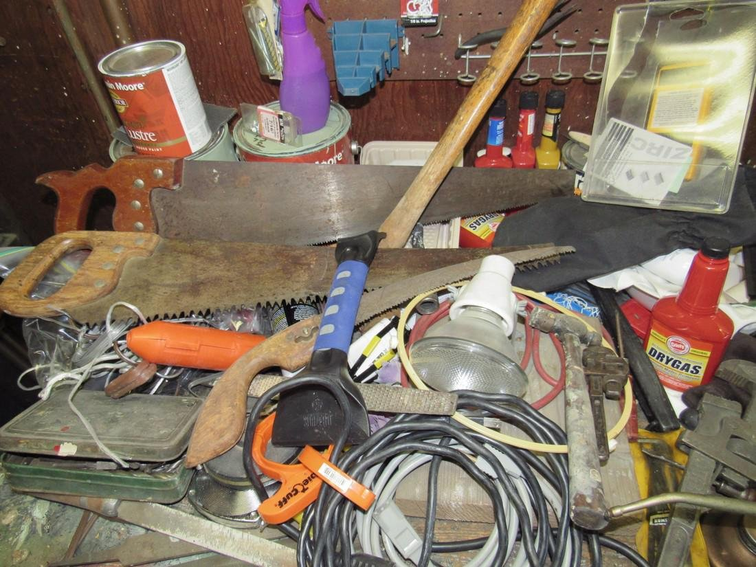 Workbench & Contents Tools Saws Oil Cans - 4