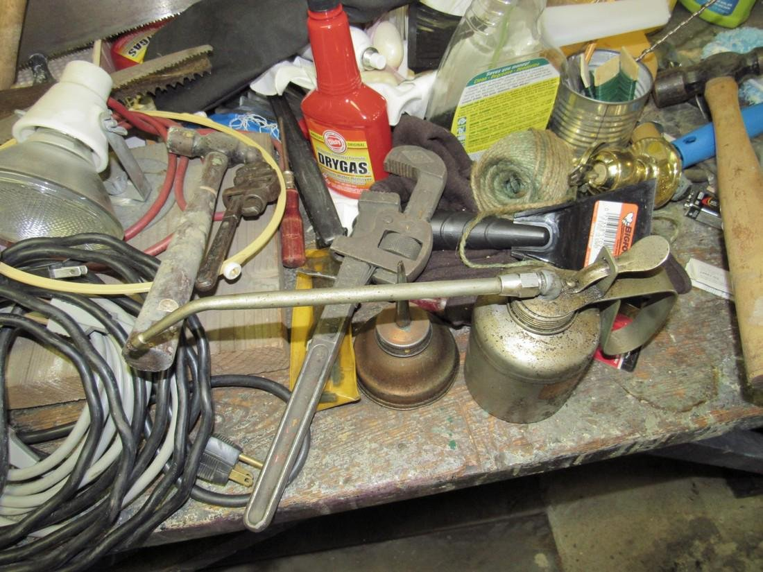 Workbench & Contents Tools Saws Oil Cans - 6