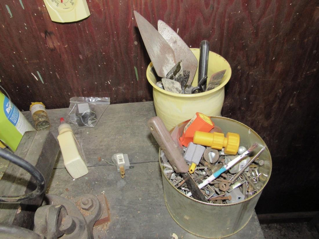 Workbench & Contents Tools Saws Oil Cans - 7