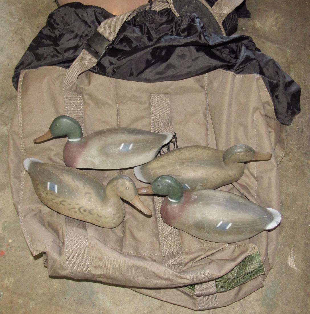 4 Mallard Duck Hunting Decoys & Ducks Unlimited Bag