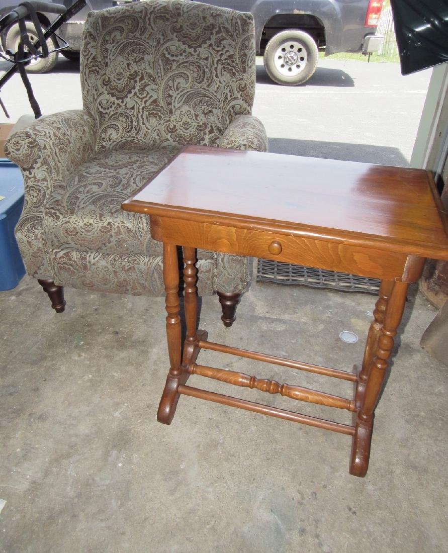One Drawer Stand & Upholstered Arm Chair