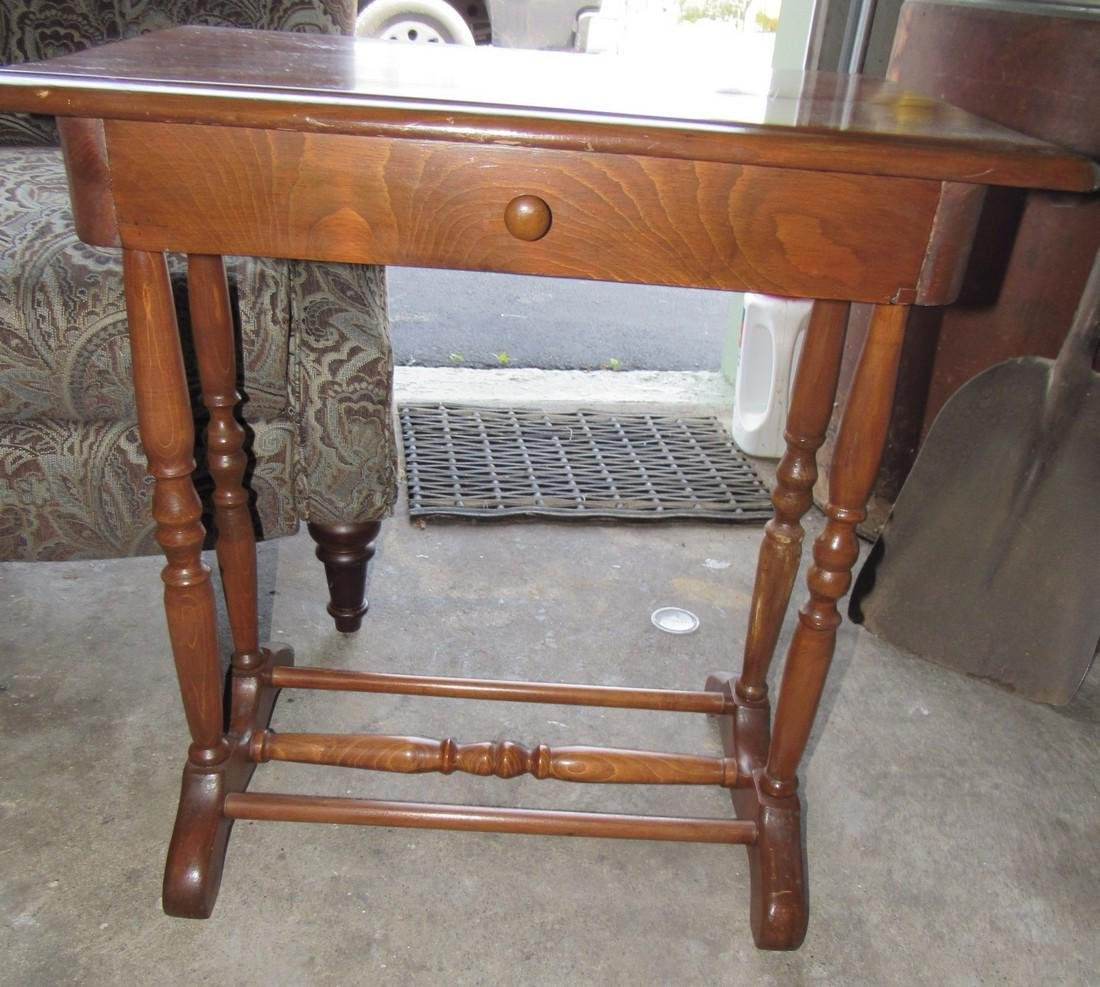 One Drawer Stand & Upholstered Arm Chair - 2