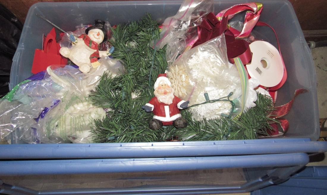 5 Totes of Christmas Ornaments Decorations & Tree - 2