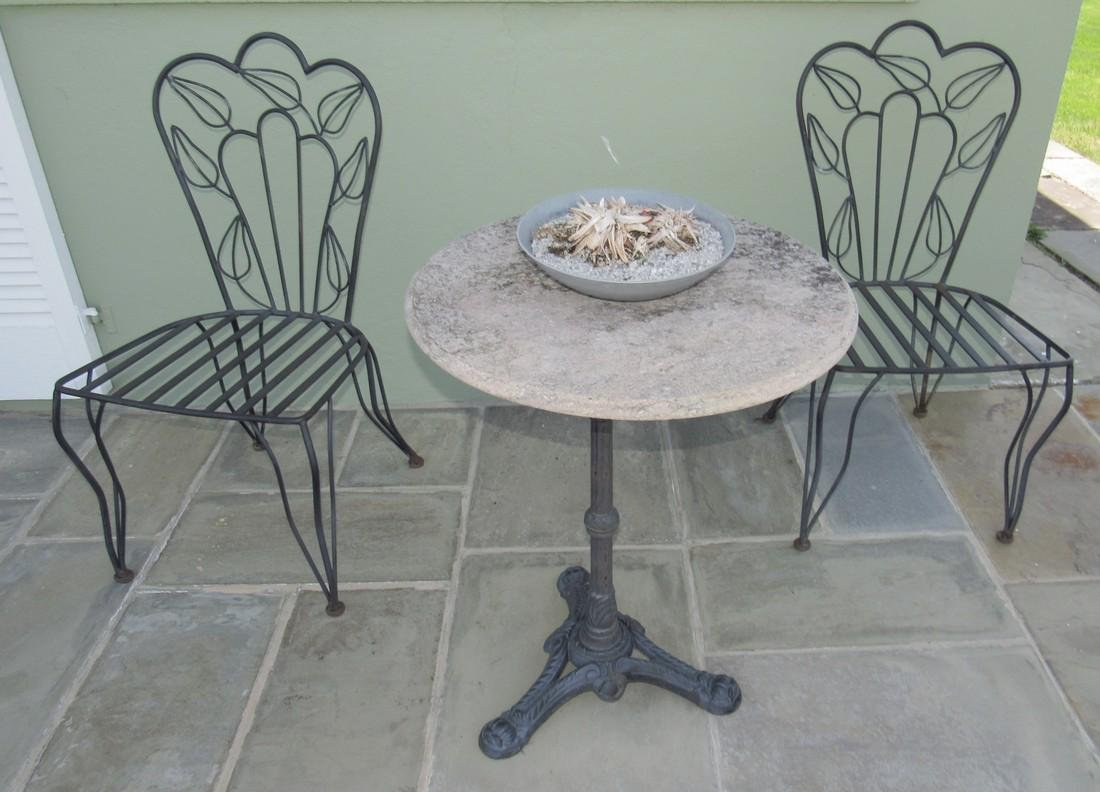 """Metal Patio Chairs 24"""" Round Table with Cast Iron Base"""