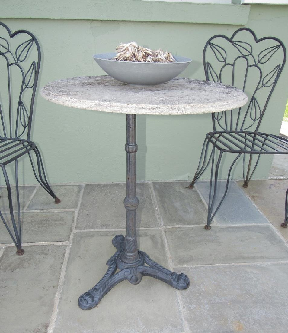 """Metal Patio Chairs 24"""" Round Table with Cast Iron Base - 2"""