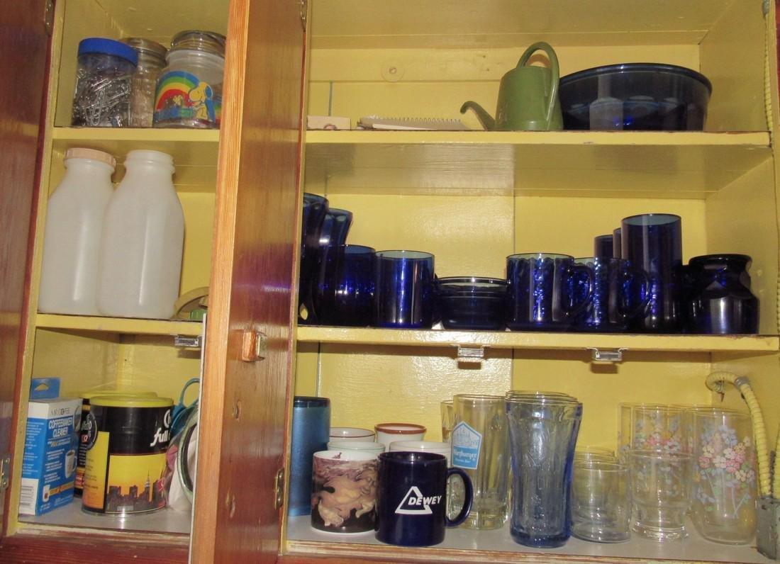 Colbalt Glassware Cabinet Contents