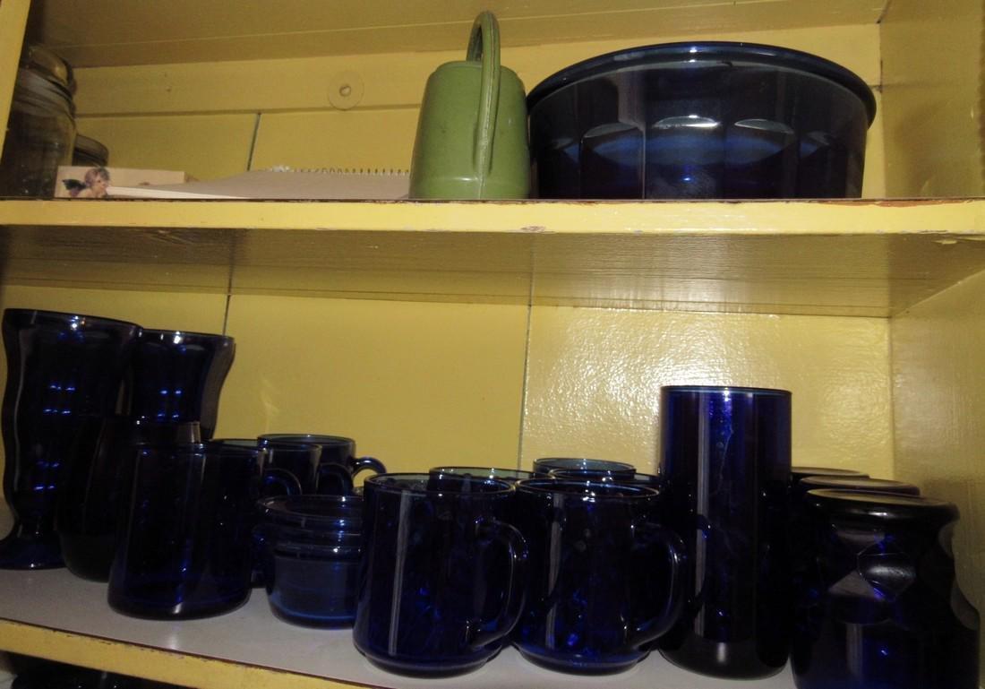 Colbalt Glassware Cabinet Contents - 2