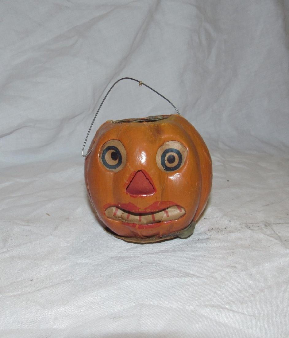 Antique Paper Mache Jack O Lantern Pumpkin