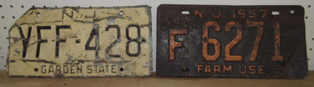 1957 NJ Farm Use License Plate