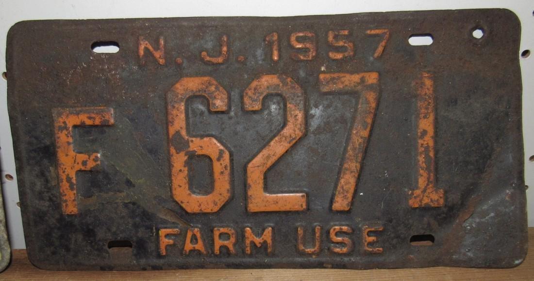 1957 NJ Farm Use License Plate - 2