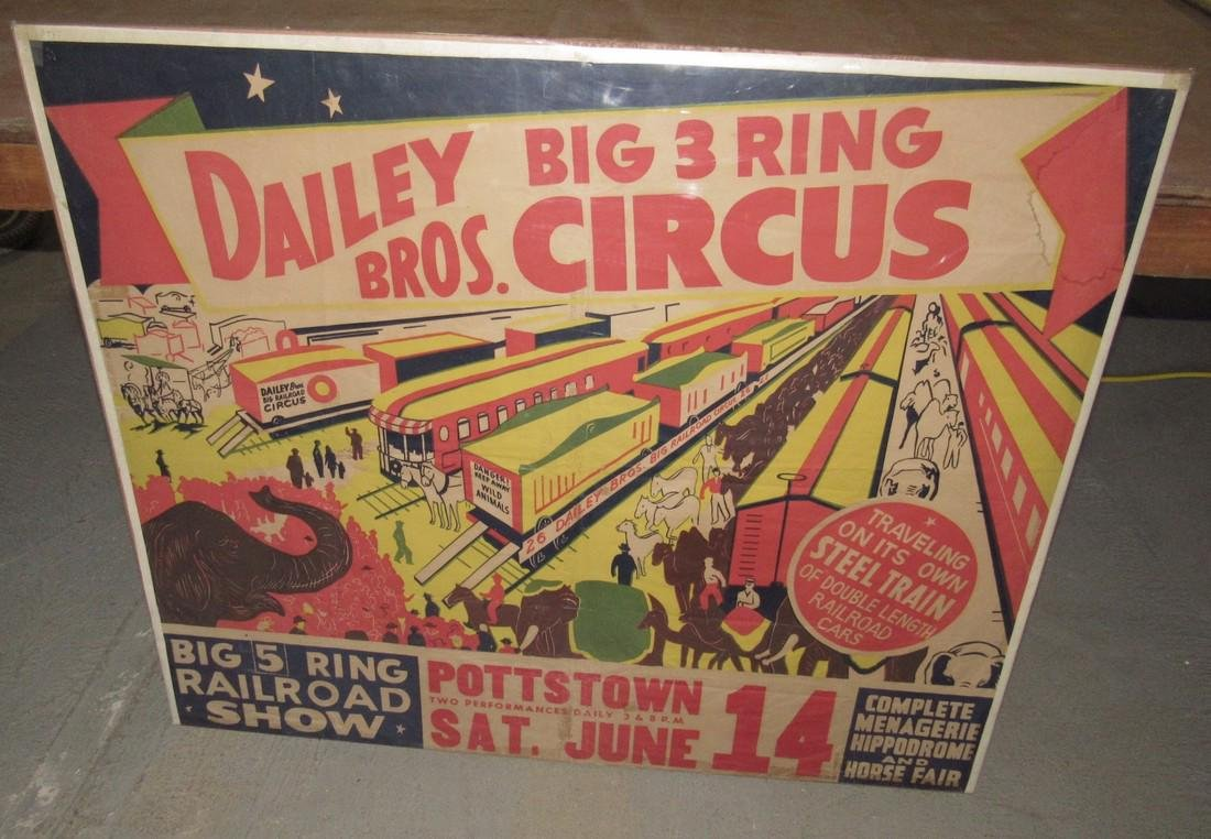 "Dailey Bros 3 Ring Circus Poster Pottstown PA 33 1/2""X"