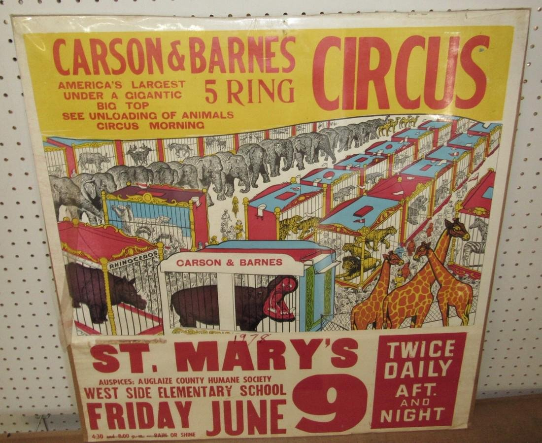 Carson & Barnes 5 Ring Circus Poster St Mary's