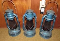 3 Dietz No. 2 Blizzard Tubular Railroad Barn Lanterns
