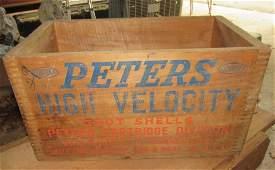 Peters High Velocity 20 Gauge Shot Shells Wooden Crate