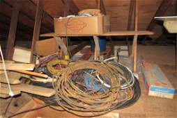 Contents of Top of Garage Copper Wire Wood  Misc