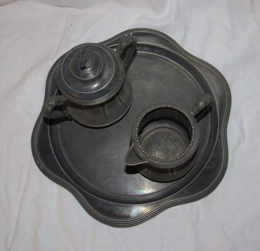 Silverplate Platter Sugar & Creamer - 2