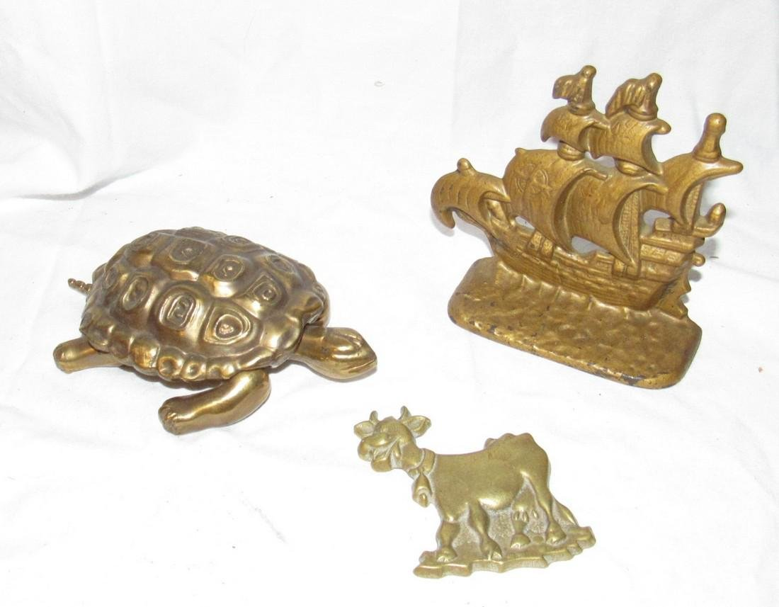 Brass Turtle Cow Plaque & Ship Bookend