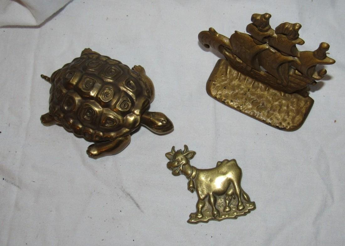 Brass Turtle Cow Plaque & Ship Bookend - 2