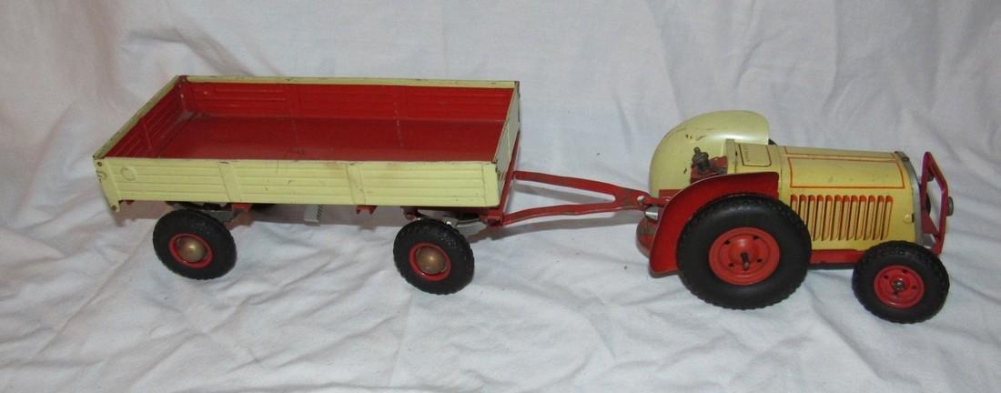 Wind Up Gescha Toy Tractor & Wagon