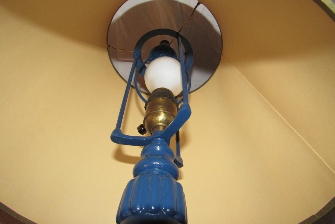 Blue Painted Pot Metal Lamp - 3