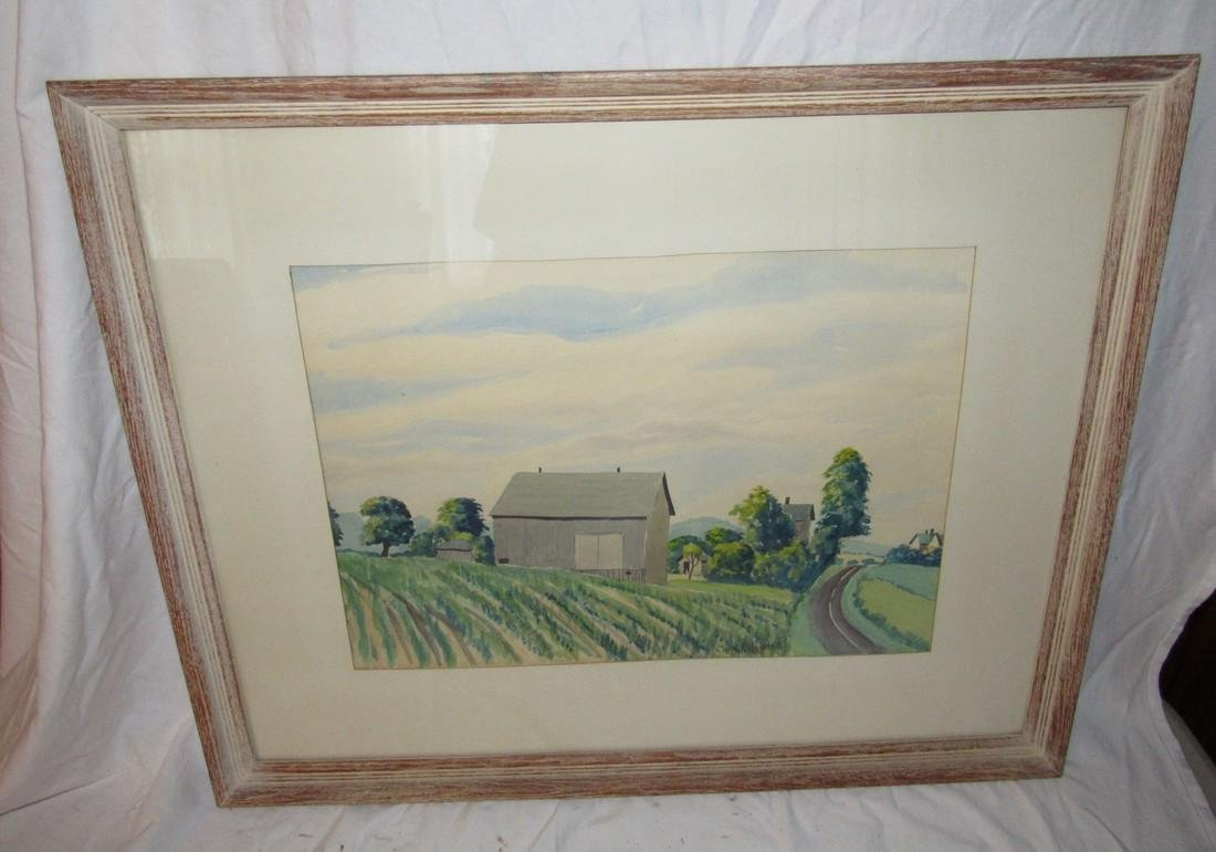 Country Farm Scene Water Color Painting Chas K. Wahnke