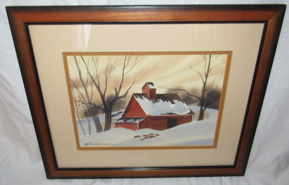 Keith Hoffman Winter Barn Country Scene Water Color